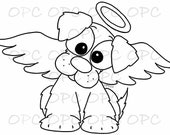 Digital Stamp Dog Angel