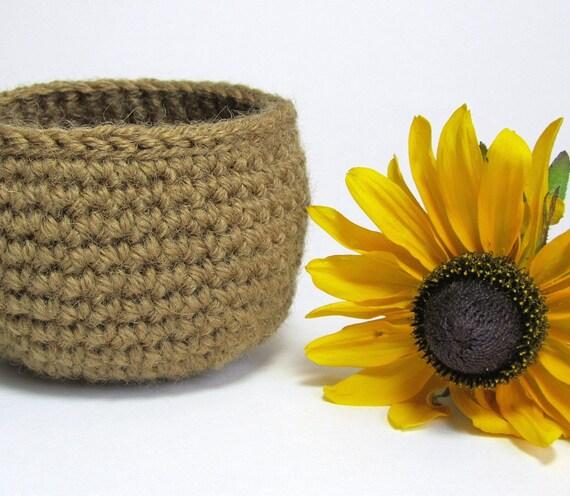Simple Rustic Jute Basket Small Storage Pot Tan Yarn Bowl Home Décor Dorm Organizer Crocheted by Lilena
