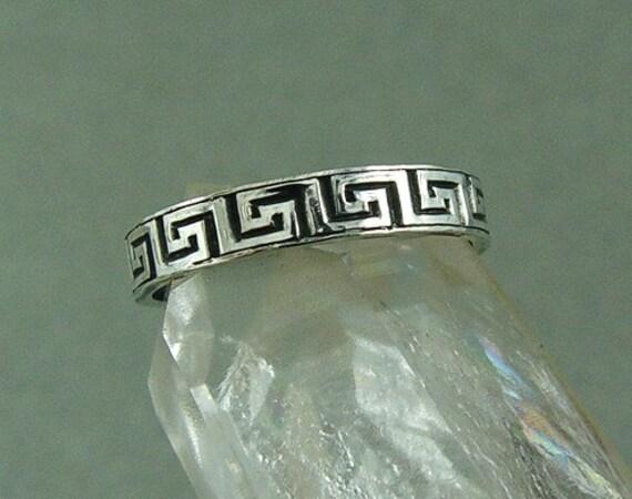 Silver Greek Ring  / Greek Key Ring / Sterling Silver Ring / Unisex Ring