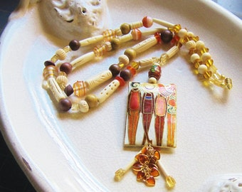 Cloisonne rectangle bead, tango tangerine, white carved bone beads, summer, beach, statement necklace - On The Boardwalk