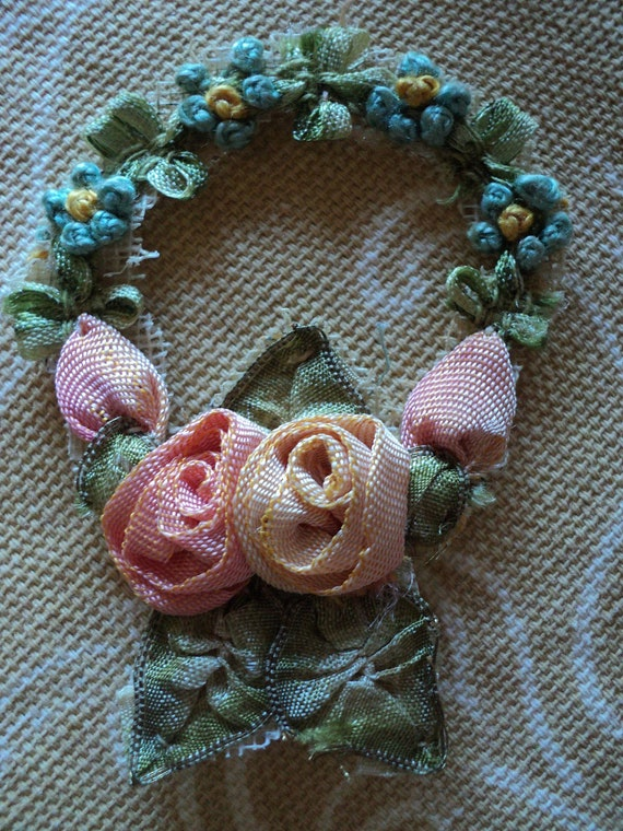 Antique Ribbonwork Applique Floral Wreath Roses Forget me nots Original 1910s Silk Hold for LF