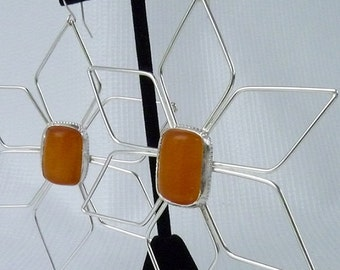 Handcrafted Sterling Silver Earrings with African Amber Stone One of a Kind