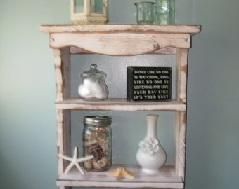 Bath Decor - Kitchen Storage - Spice Rack - Wood Shelf - Handmade - Wooden Shelf - Towel Holder - Beach Decor - Shabby, Paris Apartment