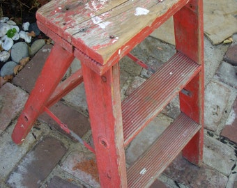 Vintage Folding Step Ladder - Chippy Red