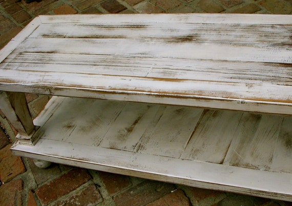 Living Room Furniture - Home Furnishings - Wood Coffee Table - Wooden - Handmade - Country Cottage - White - 45 long x 17 wide x 16 tall