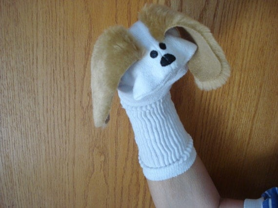 Dog Sock Puppet with tan faux ears and hand painted eyes and nose