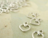 20 Petite Sterling Silver Heart Charms - Handmade Jump Rings Included - 100% Guarantee