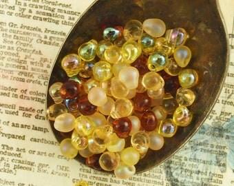 Honey Butter Fringe Miyuki Glass Bead Mix - Colorful Ambers and Yellows