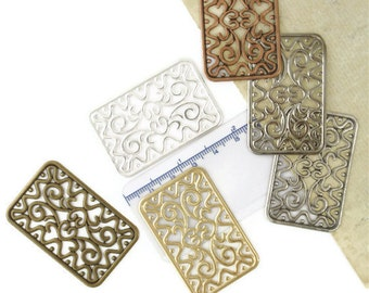 One LARGE Rectangle Filigree Focal -  6 colors - Vintage style - 49mm x 32mm -  You PICK