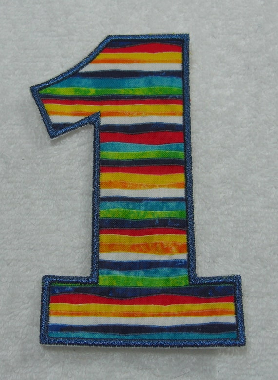 5 Inch Number 1 Fabric Embroidered Iron On Applique Patch Ready to Ship