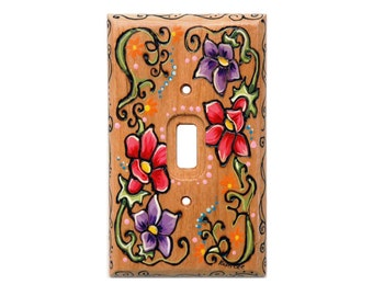 FLORAL with Flowers Light Switch COVER