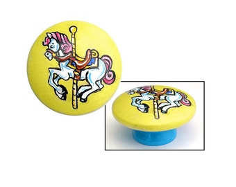Carousel Horse Knob - Yellow and Blue with White Horse