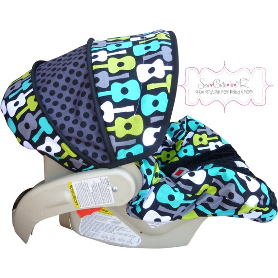 Car Seat Cover Groovy Guitar Lagoon with BLACK