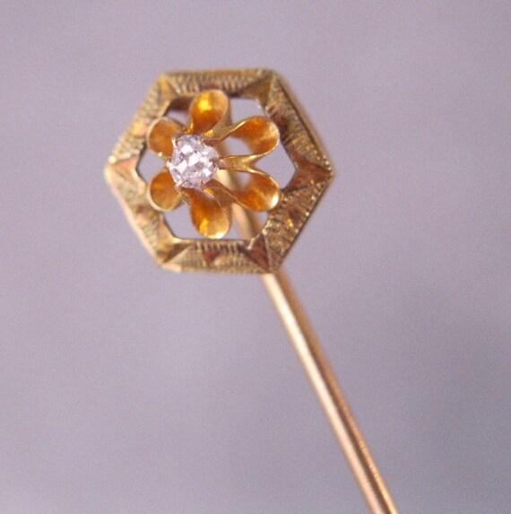 1900s Edwardian 14K Hat Pin Diamond Stick Lapel SALE