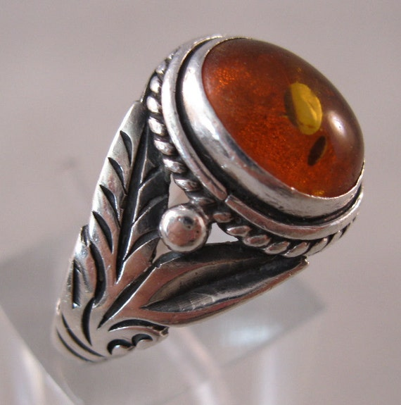 Vintage Baltic Honey Amber Sterling Ring Size 7 Unisex