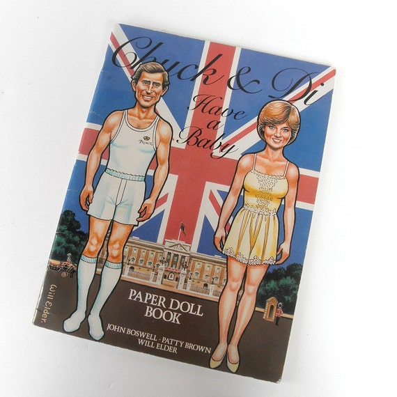 Vintage Chuck and Di Have a Baby Paper Dolls, Prince Charles, Lady Diana, Prince William, British Royal Family