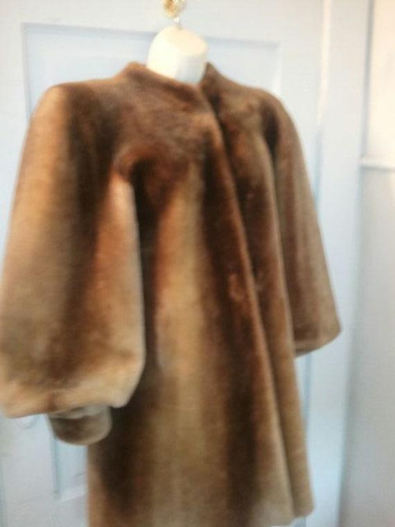 Vintage 40s old hollywood Rare mouton Caramel Brown ladies Fur coat size Large