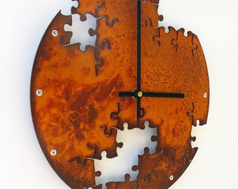 Puzzle IV, Medium, Rustic Wall Clock, Unique Wall Clock, Modern Wall Clock, Steampunk Home Decor, Metal Wall Art, Industrial Gift, Laser Cut