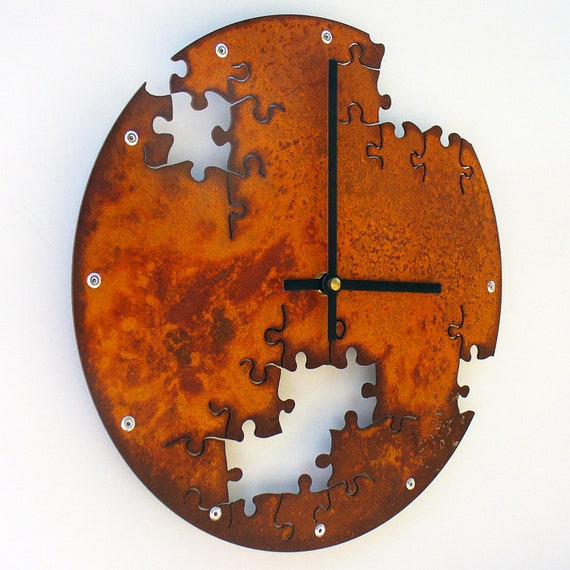 Puzzle IV, Medium Wall Clock, Rusted Wall Clock, rustic wall clock, unique wall clock, modern wall clock, steampunk wall clock
