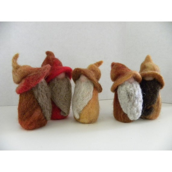 A Very Happy Band of Needle Felted Gnomes