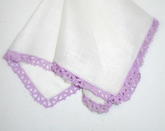 Vintage handkerchief - excellent condition in white linen with beautifully done, hand crocheted contrast edge in Lavender.