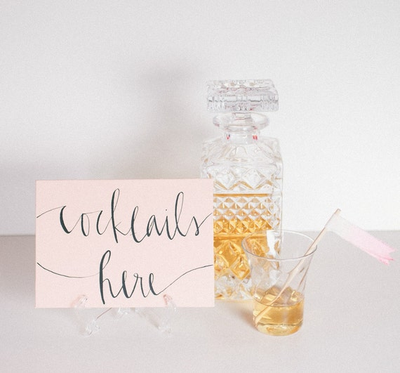 peach calligraphy cocktail sign // five by seven