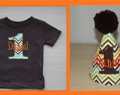 Zig Zag Stripe Personalized Birthday Number Shirt and Party Hat for Boy  Custom by Sprinkles of Love