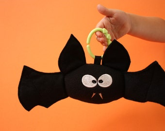 Black Vampire Bat Halloween baby toy stuffed toy, plush toy Stuffed Animal - Monogramming Available