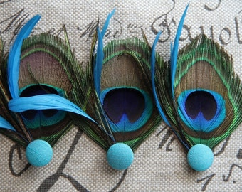Set of Three Peacock Feather Hair Pins