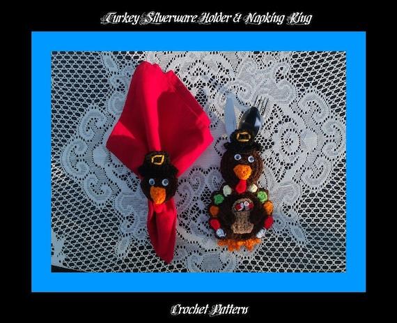 Turkey Silverware Holder  And Napkin Ring Crochet Pattern