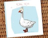 Goose with cream aran knitted hat illustrated Irish language Christmas card **FREE SHIPPING**