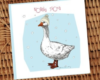 Goose with cream aran knitted hat illustrated Irish language Christmas card **FREE SHIPPING**