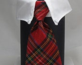 Red Sparkle Plaid Cat Tie and Collar