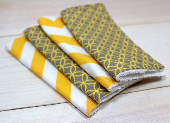 Washcloths - Unisex Baby  Washcloths - Set of 4 - Gray and Yellow Chevron