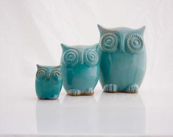 ceramic Owl figurines family home decor