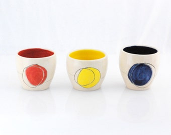 Ceramic cup - Ceramic tumbler - Mini planter - Color block cup - Housewarming gift  - Ready to ship - Desk organization