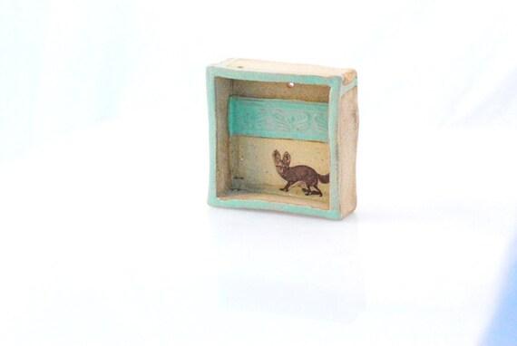 Fox - wall box hand made ceramic