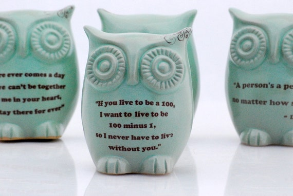 Owl with Winnie the pooh quote on mint green - love