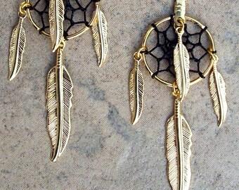 MIDNIGHT SUN - Gold and Black dream catcher earrings, long dangle earrings, long dangly feather dreamcatcher earrings