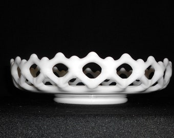 Vintage Westmoreland Lace Edge Reticulated White  Milk Glass Basket Bowl