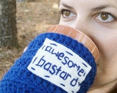 Coffee Cozy Mug Cozy Tea Cup Cosy Awesome Bastard funny royal blue white crochet handmade cover