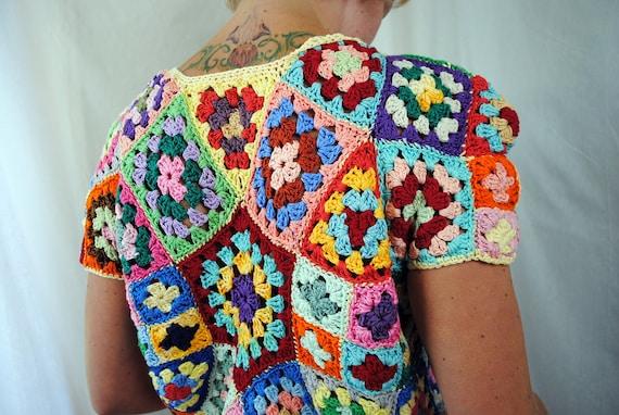 Funky Handmade Vintage Rainbow Granny Square Afghan Crochet Top