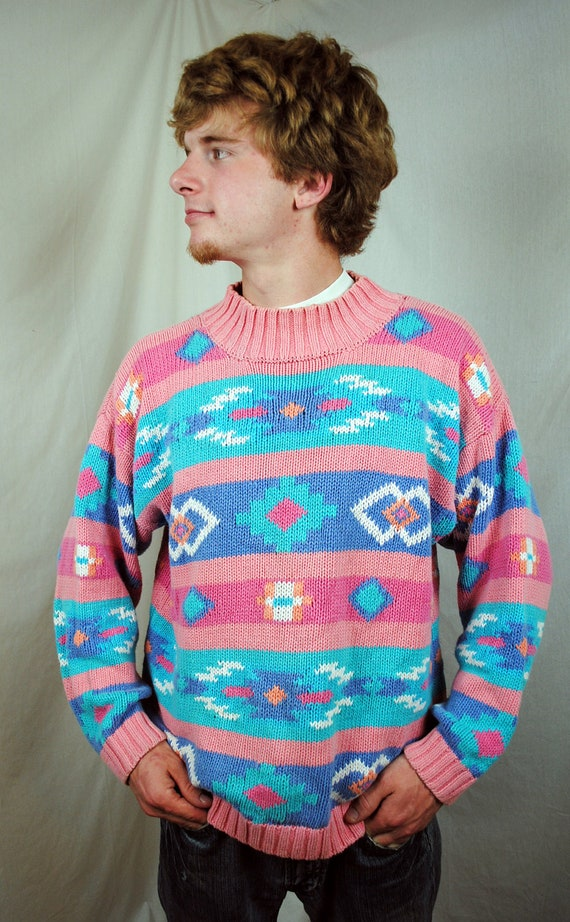 Vintage 80s Southwest Print Pastel Sweater by Nuovo