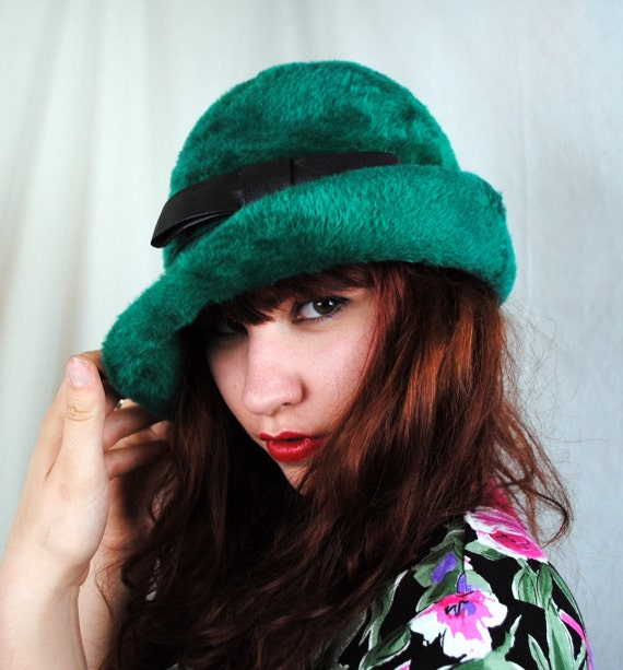 Great Vintage Felt Green Derby Fedora Hat - Junior B