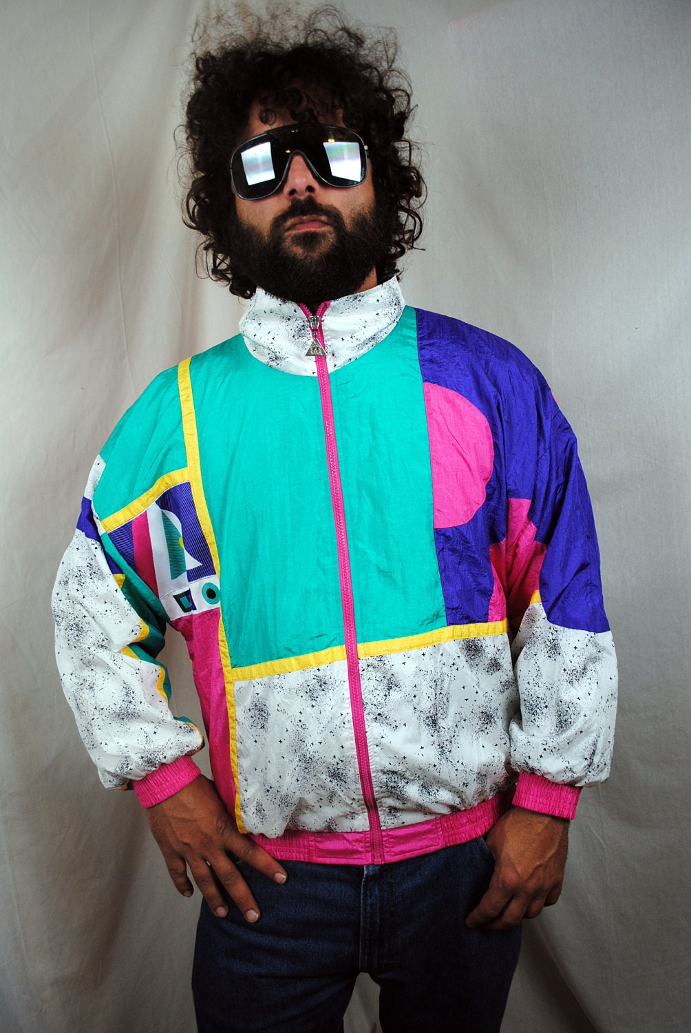 80s Vintage Clothing In The Uk Just Got Easier: Vintage 80s Neon Paint Splatter Jacket Windbreaker