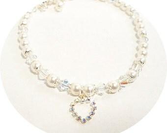 Heart Necklace, Flower Girl Jewelry,  Pearl Necklace, Dressy, Pageant Jewelry, Toddler Jewelry, Glitz, Kids Jewelry, Holiday Jewelry