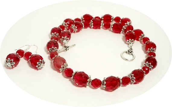 Red Necklace and Earrings Set, Red Jewelry, Holiday
