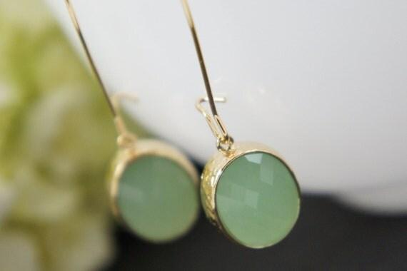 mint green gold earrings - kidney ear wire, bridal, wedding, gift