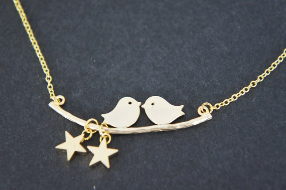birds on branch gold necklace, tiny stars, casual, everyday necklace, gift
