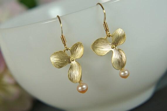 gold orchid pink pearl earrings - bridal earrings, wedding earrings, gift for women
